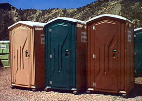 Satellite Industries Tufway Model Portable Restroom front view